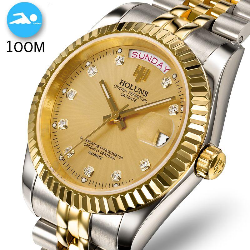 100 M Wasserdicht Männer Uhr Schwimmen voller Edelstahl Business Mann Uhren Automatische Datum Woche Gold Männer Uhr Relogio Masculino
