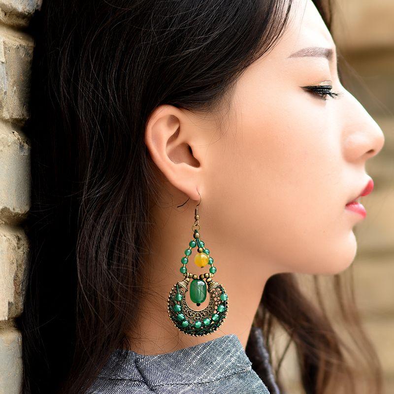 Boucles d'oreilles longues pendantes ethniques pour femmes vert jaune pierre bronze alliage suspension cuivre plaqué crochet style bijoux vintage
