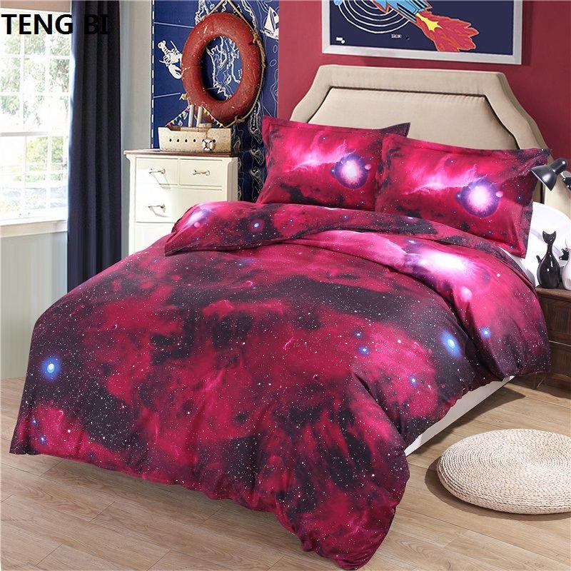 Hipster Galaxy Literie Ensemble Univers L'espace À Thème Galaxy Imprimer linge de Lit Bed sheet Literie Reine Taille Pas Cher Chaude