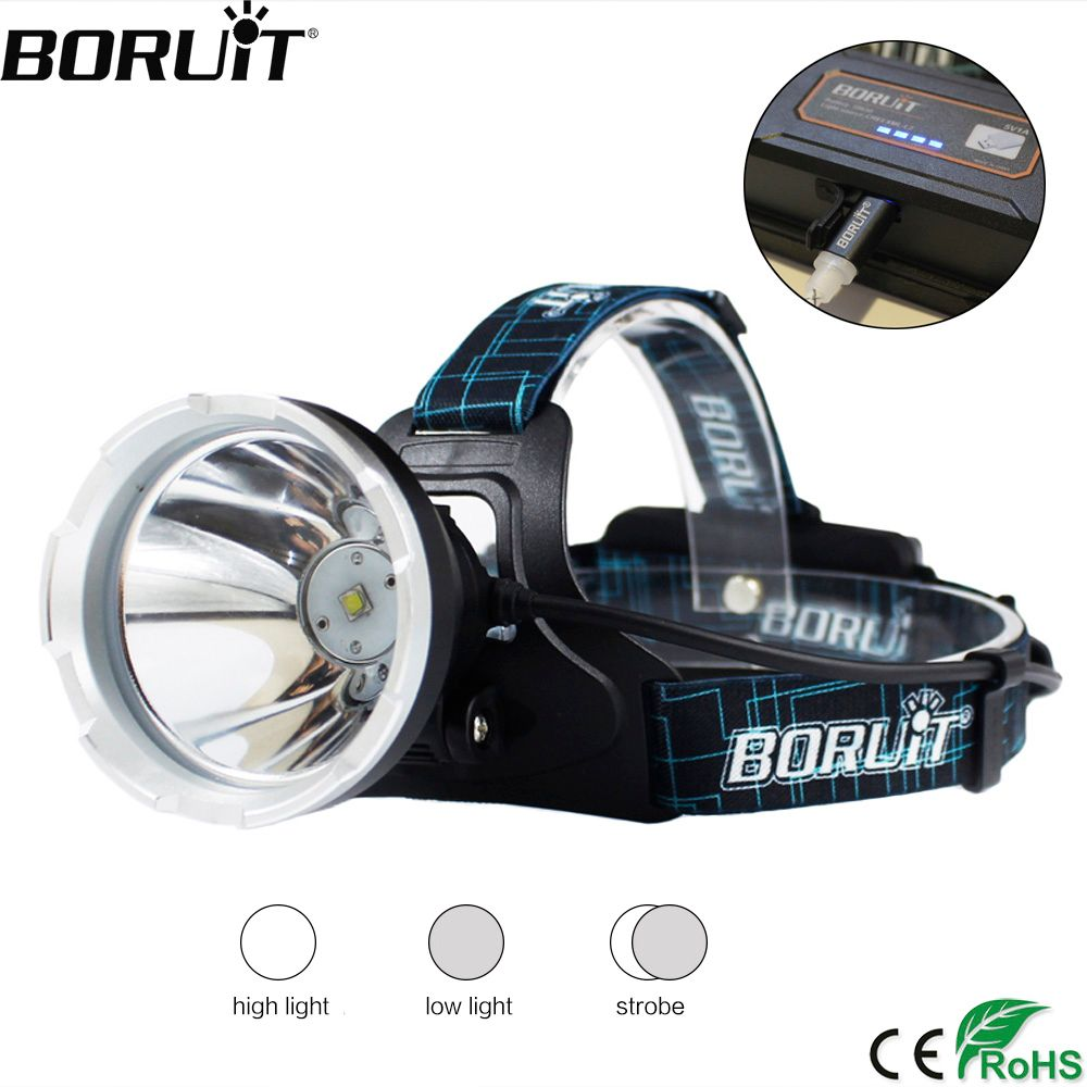 BORUIT B10 XM-L2 LED Headlamp 3-Mode 6000LM Headlight Micro USB <font><b>Rechargeable</b></font> Head Torch Camping Hunting Waterproof Flashlight