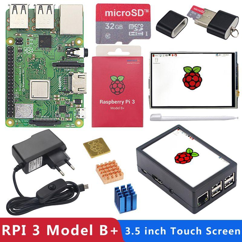 Original Raspberry Pi 3 Model B Plus with WiFi&Bluetooth+3.5 inch Touchscreen+Power Adapter+Case+Heat Sink for Pi 3 B Plus 3B+