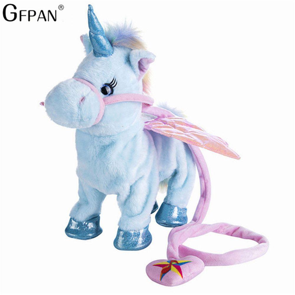 Funny Toys Electric Walking Unicorn Plush Toy Stuffed Animal Toy Electronic Music Unicorn Toy for Children Christmas Gifts