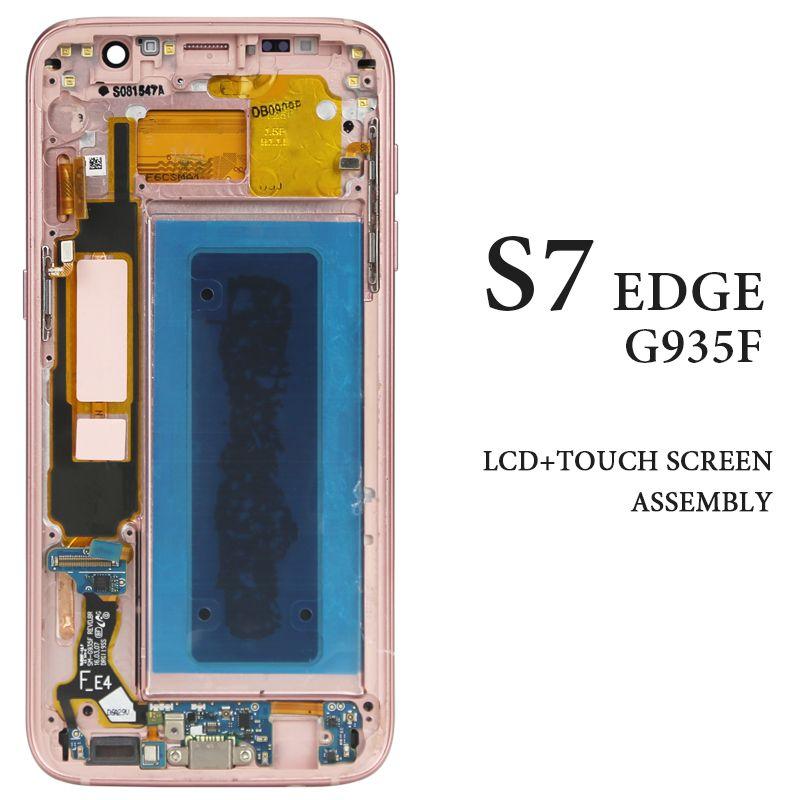 AMOLED G935 G935A G935F Display Für Samsung Galaxy S7 Rand LCD Bildschirm Mit Rahmen Digitizer Montage Telefon Ersatz Ersatzteil