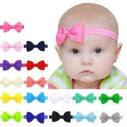 17 Couleurs Bandeau Solide De Couleur de Sucrerie Bébé Enfants Filles Mini Bowknot Hairband Élastique Bandeau de Cheveux Accessoires En Gros et Dropship