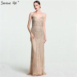 2019 luxus Nude Gold Diamant Floral Lange Abendkleid Spaghetti-trägern Muster Formale Kleider Kleid Echt Bild BLA6002