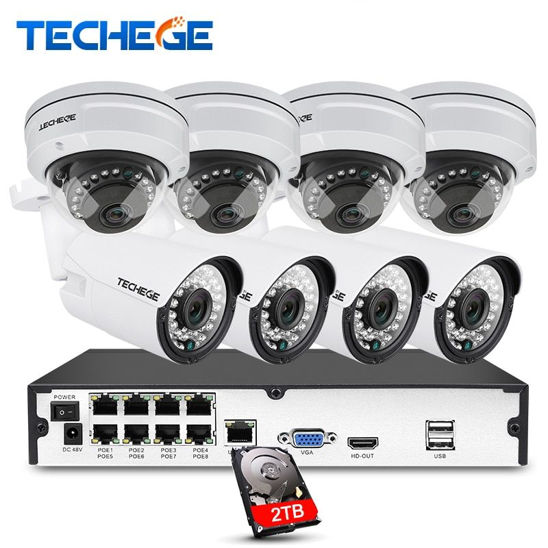 Techege 8CH full 1080P POE NVR kit 48V POE NVR 2.0MP 3000tvl NIght Vision Waterproof IP POE Camera P2P Cloud cctv camera system