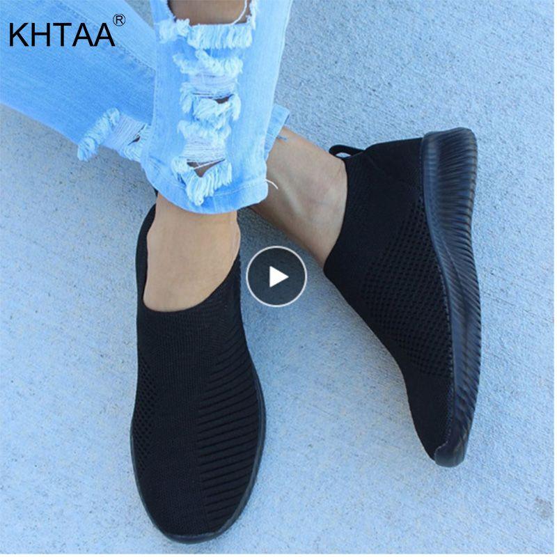 KHTAA femmes Air Mesh baskets automne plat chaussure Stretch tricoté printemps respirant décontracté marche vulcaniser chaussures femme grande taille