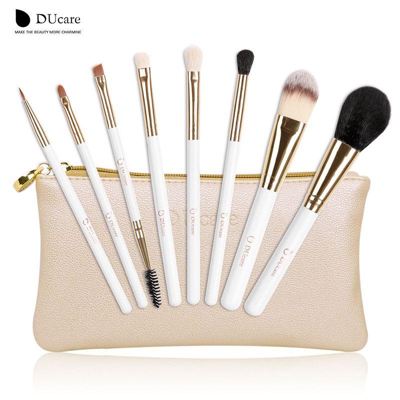 DUcare pinceaux de maquillage 8 pièces ensemble de pinceaux professionnels Nature pinceaux à poils beauté essentiels pinceaux de maquillage avec sac de qualité supérieure