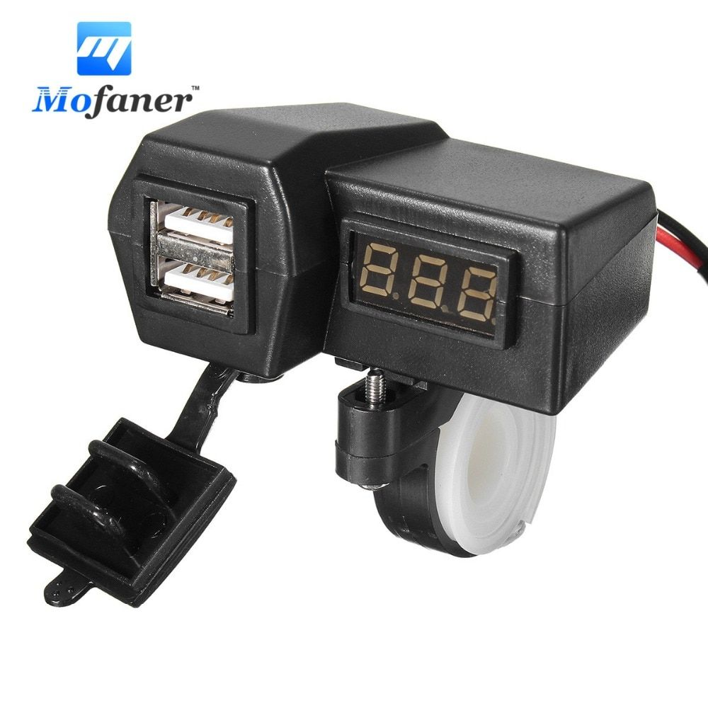 Mofaner Black Motorcycle Dual USB Socket Charger Phone Power Adapter GPS Voltage DC 12-24V