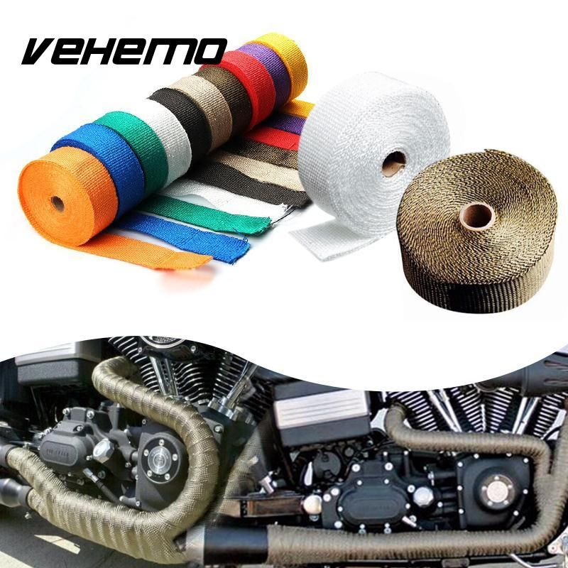 Vehemo 10M Titanium Thermal Exhaust Header Pipe Tape Heat Insulating Wrap Tape Fireproof Cloth Roll With Durable Steel Ties Kit