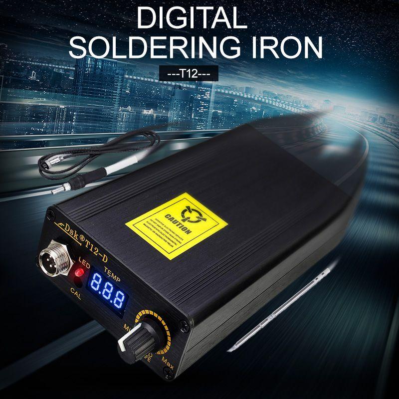 Лучшая Цена цифровая паяльная станция Утюг Температура контроллер + ЕС Подключите Температура 180-435 градусов + T12 ручка 138X88x38 мм