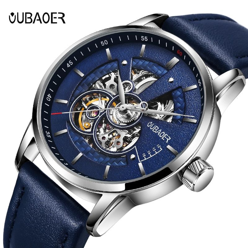 Men's watches OUBAOER automatic mechanical watch leather clock casual business watch top brand sports watch relogio masculino