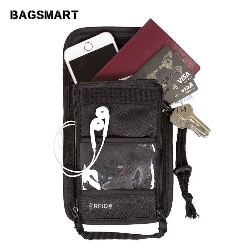BAGSMART RFID Passeport Titulaire Couverture En Nylon ID Carte Voyage pochette tour de cou Poche Billet Forfaits Passeport Couvre Passeport Sac Cas
