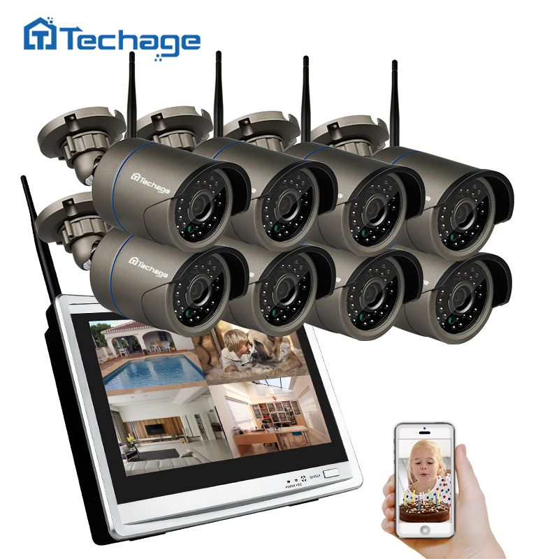 Techage 8CH Wifi CCTV System LCD-Monitor Drahtlose NVR 960 P 1.3MP Freien Wasserdichte Kamera P2P Video Security Surveillance Set