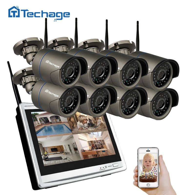 Techage 8CH Wifi CCTV System LCD Monitor Wireless NVR 960P 1.3MP Outdoor Waterproof Camera P2P Video Security Surveillance Set