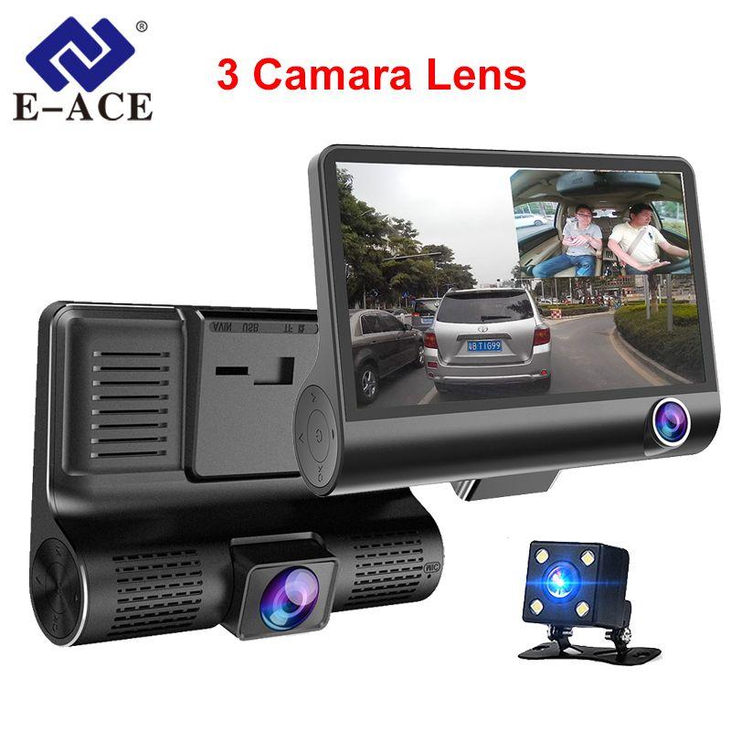 E-ACE dvr de voiture 3 Caméras Lentille 4.0 Pouces Dash Caméra Double Lentille Avec Caméra De Recul enregistreur vidéo Auto Registrator Dvr Dash Cam