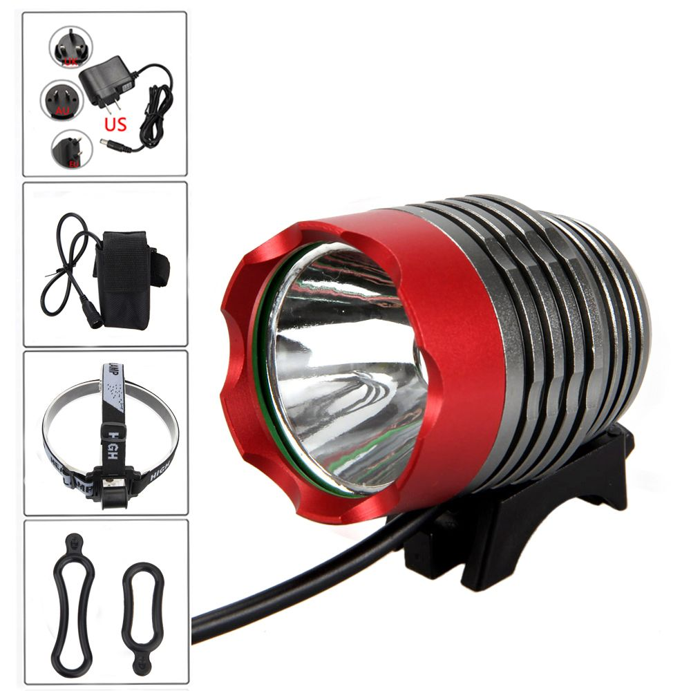 8000 <font><b>lumen</b></font> XM-L T6 LED Bicycle Light Headlamp Front Head Torch Bike Headlight with Battery Pack+Charger