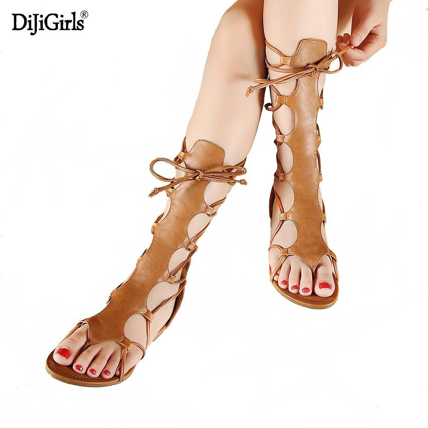 Summer gladiator boots cross strap sandals thong Roman leather strap Women's sandals women flat sandals sandal booties