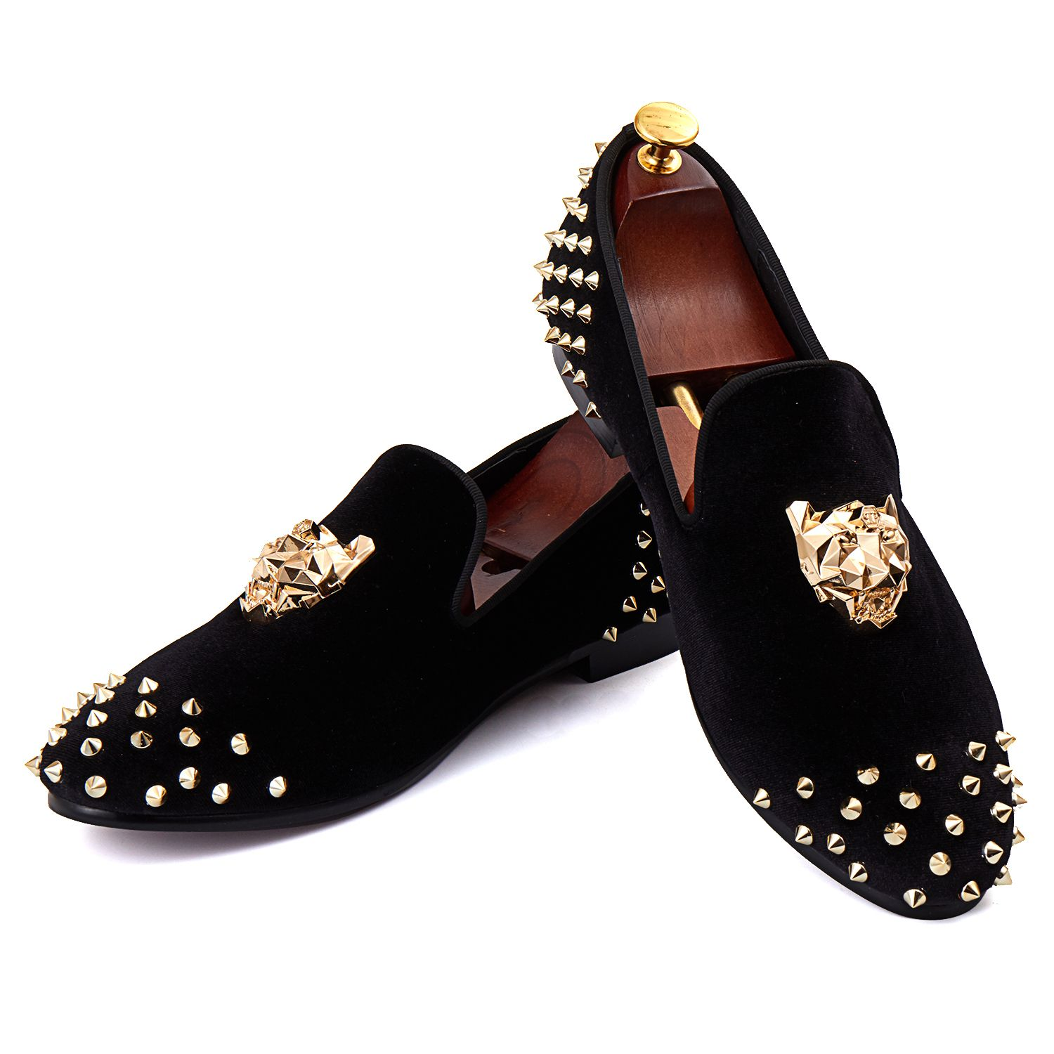 Branded Flat Shoes Rivets Black Men Velvet Loafers Animal Buckle Dress Shoes With Spikes Red Bottom Free Shipping Size 7-14