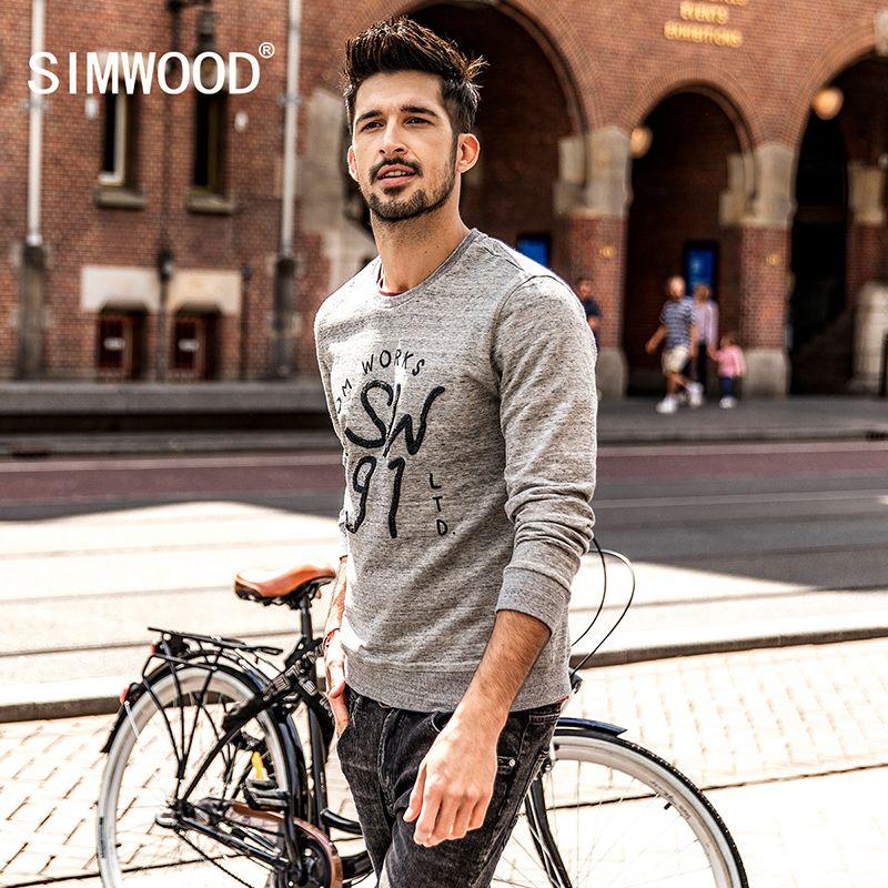Simwood Sudaderas hombres 2018 primavera nueva slim fit moda Bordado carta sudaderas 100% puro algodón más tamaño wt017007