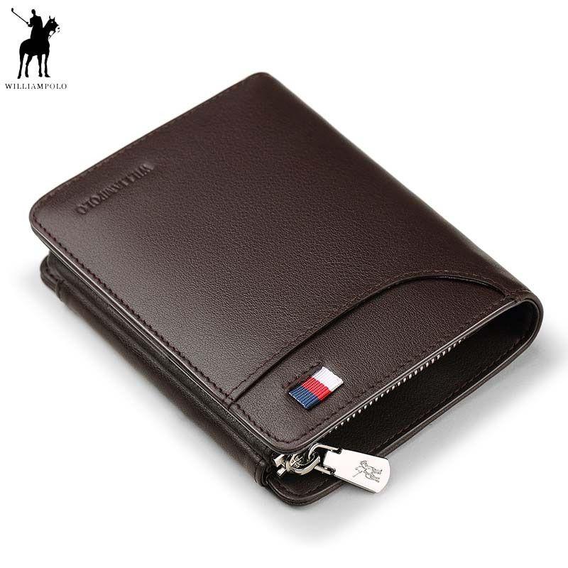 WILLIAMPOLO Echtem Leder Männer Brieftaschen Luxus Marke Trifold Brieftasche Zip Münzfach Geldbörse Kuh Leder Brieftasche Herren Polo297