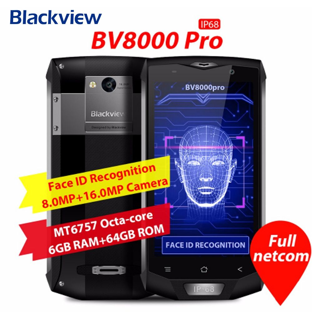 Original <font><b>Blackview</b></font> BV8000 Pro 4G Mobile Phone 5.0 Inch Android 7.0 MTK6757 Octa Core 2.3GHz 6GB+64GB 16.0MP NFC OTG Smartphone
