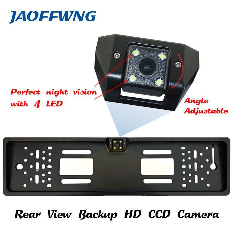 Pour CCD HD voiture vue arrière caméra de recul caméra universelle arrière cadre de plaque d'immatriculation européenne vision nocturne avec caméra LED