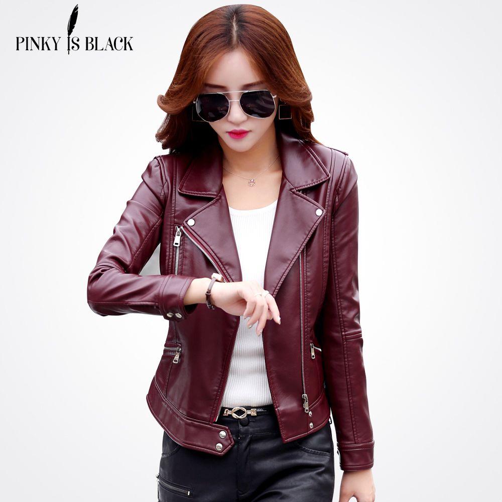 Pinky Is Black Plus Size S-3XL Fashion 2017 Autumn Winter Women Leather Coat Female Slim Short Leather Jacket Women's Outerwear