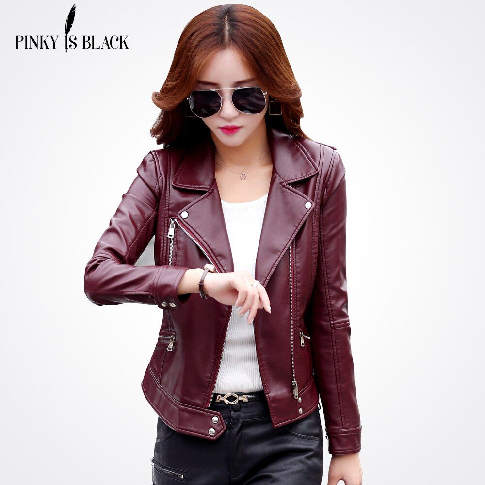 Pinky Is Black Plus Size S-3XL Fashion 2017 Autumn Winter Women Leather Coat Female Slim Short Leather Jacket Women's Outerwear