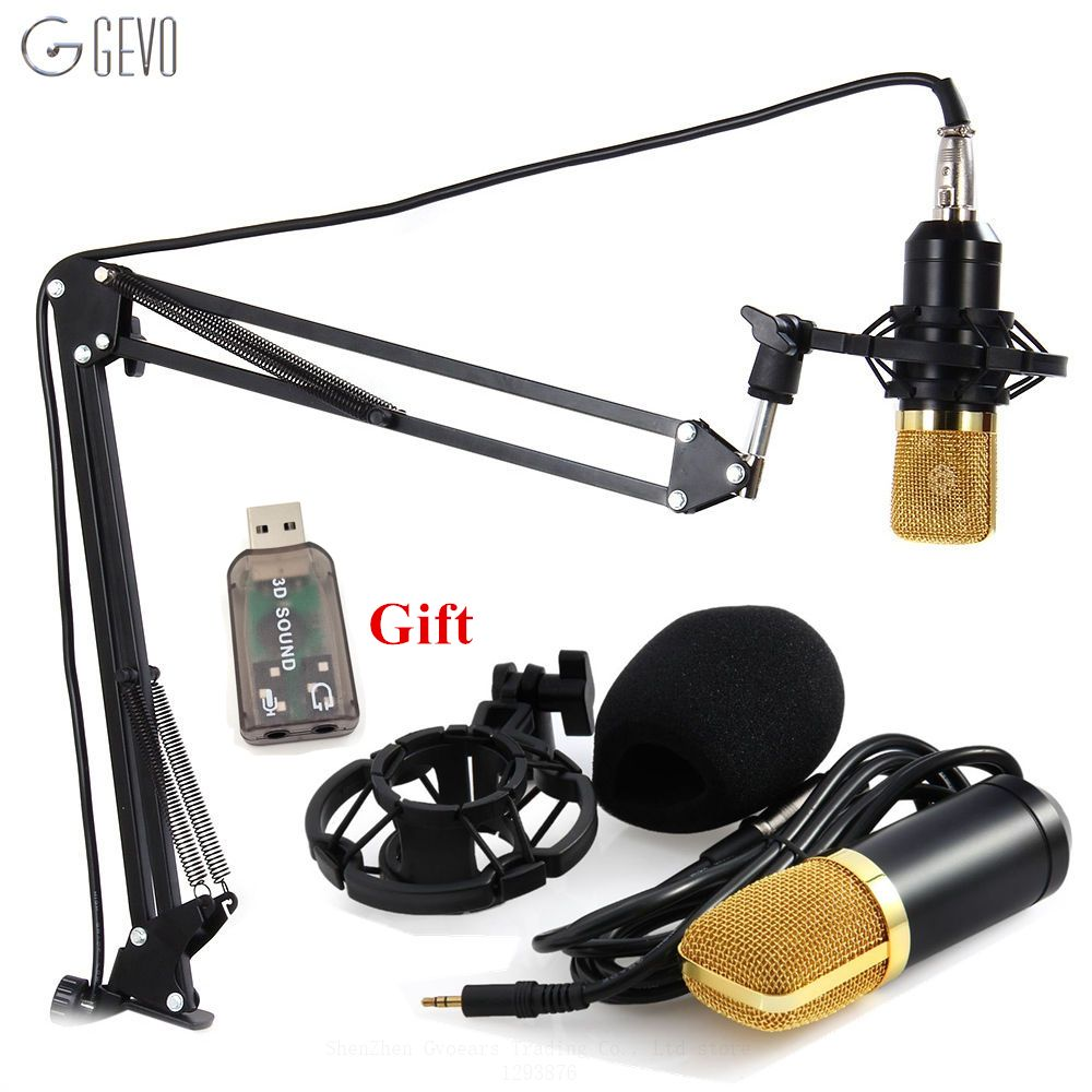 GEVO BM-700 Professional Filaire 3.5mm Microphone À Condensateur BM 700 NB-35 Microphone Stand Réglable Pour Ordinateur Enregistrement Sonore