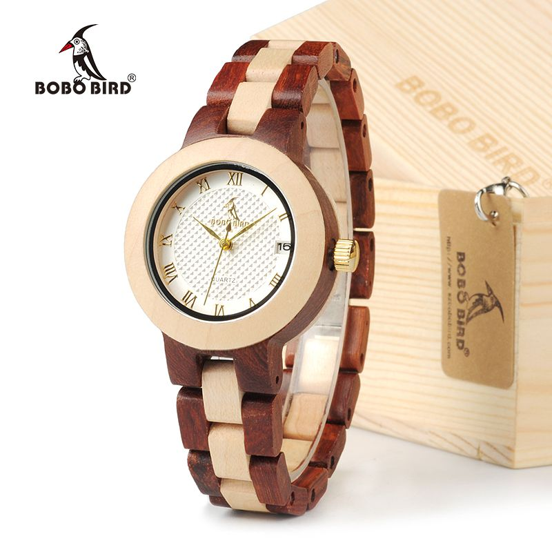 BOBO BIRD M19 Bamboo & Rose Sandal Watch Color Blocking Womens Dress Wristwatch With Gift Box