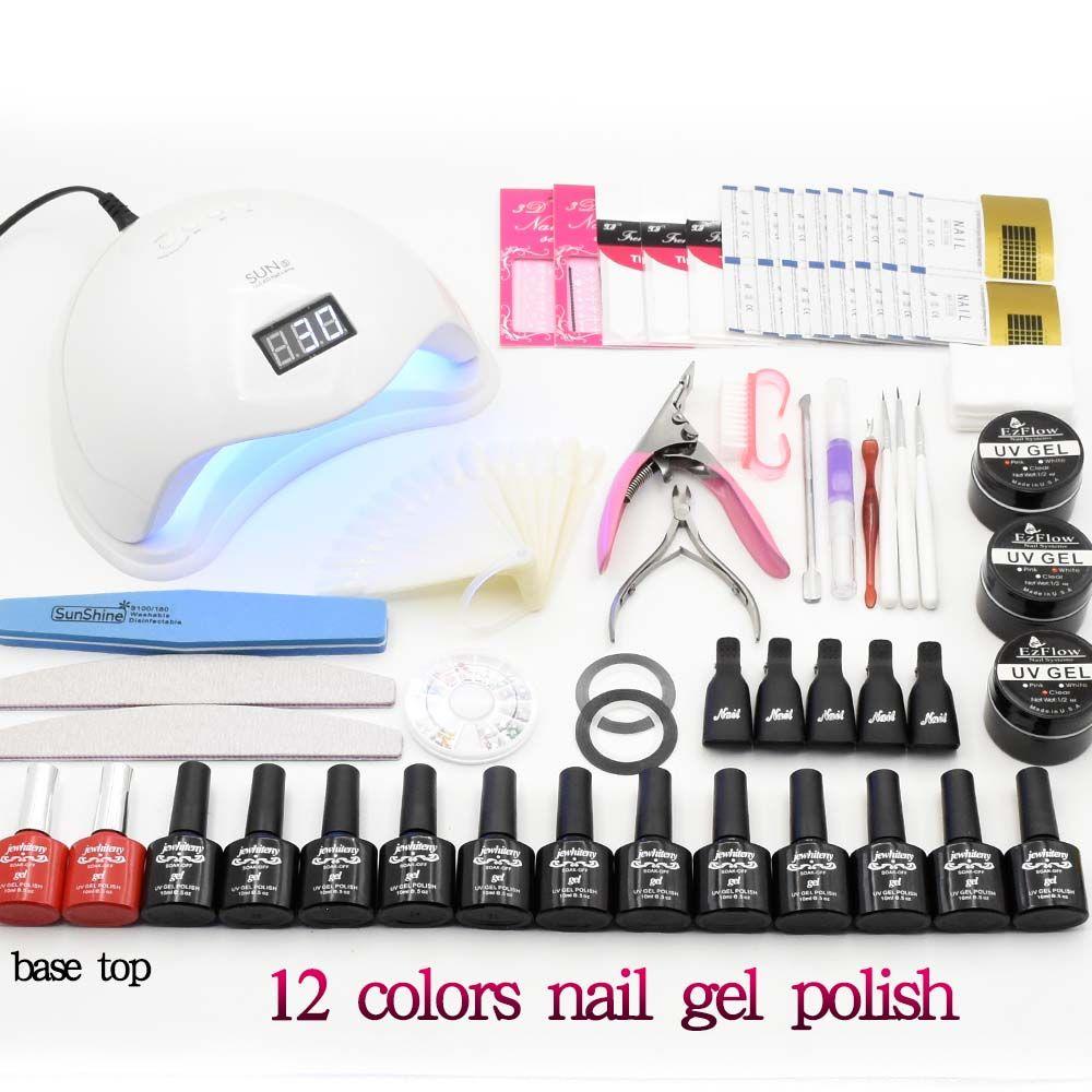 Nail Art Set Soak Off UV Gel Polish Manicure set 48W UV LED Curing Lamp Dryer base top Set nail Extension gel Varnish nail tools