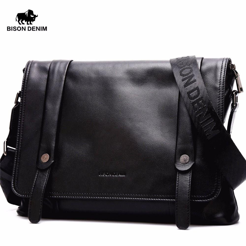 Clearance BISON DENIM Genuine Leather Men's bags,Flap Pocket Messenger Bag Fashion Black crossbody bags for men N2422
