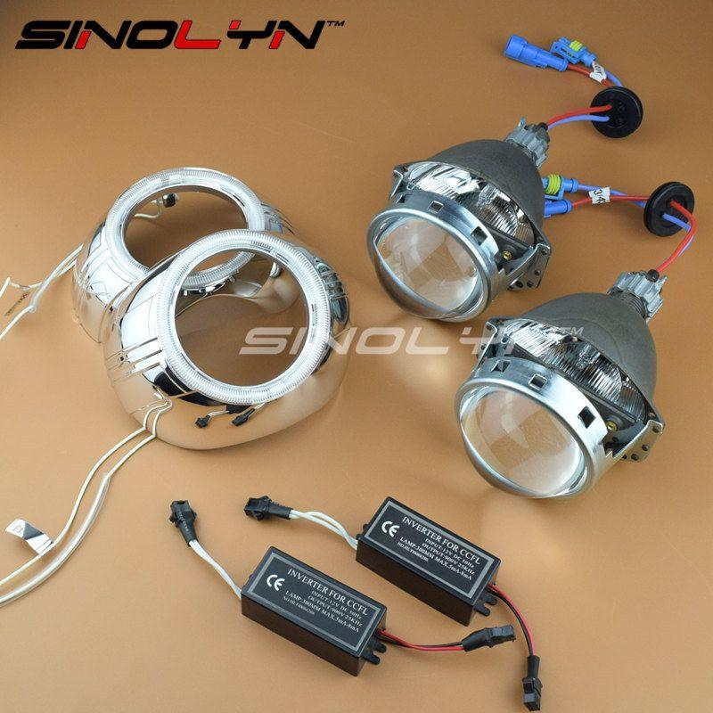SINOLYN Car Styling 3.0'' Metal HID Bi-xenon Lens Headlight Projector Xenon Headlamp Lenses W/WO Angel Eyes H1 H4 H7 9005 9006