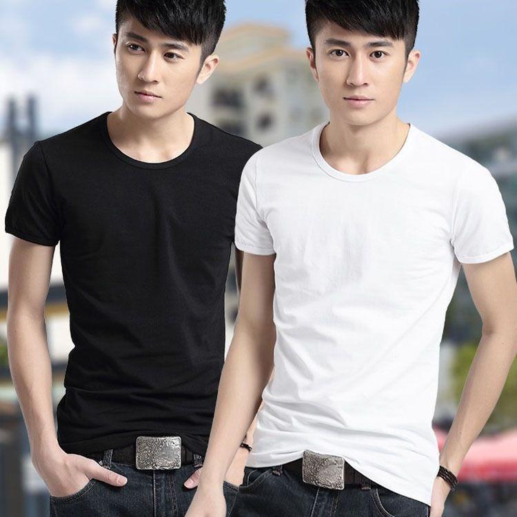 C-Fantai new pure white men round collar short sleeve T-shirt men's T-shirt pure color cotton short sleeve