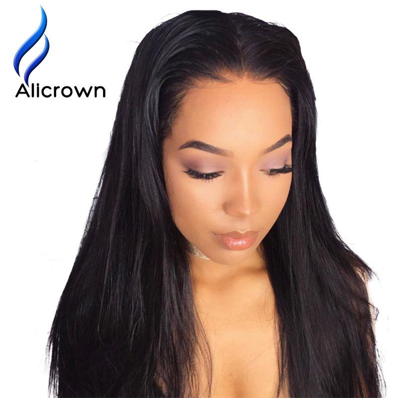 Alicrown Синтетические волосы на кружеве Человеческие волосы Искусственные парики отбеливатели узлы Прямо бразильского Волосы Remy парик 10-24
