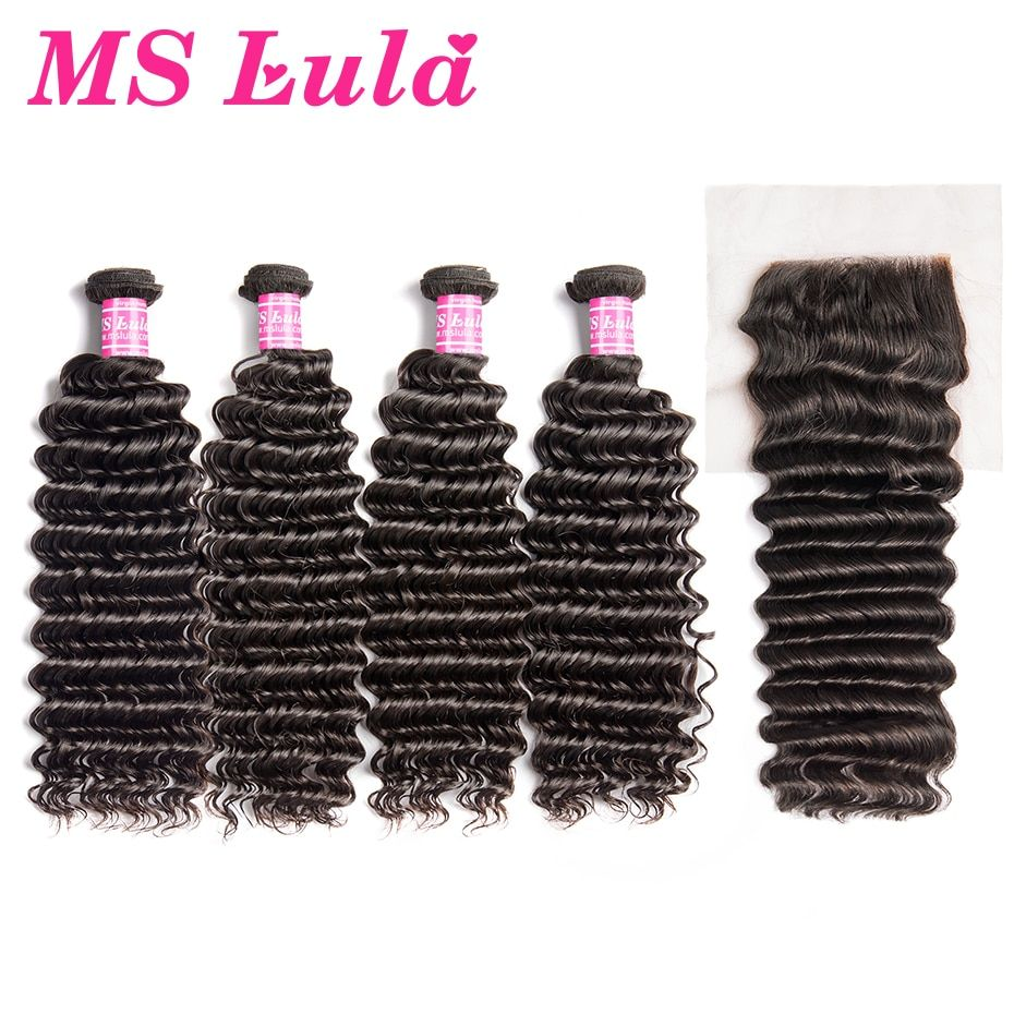 Ms Lula Hair 4 Bundles Brazilian Deep Wave With 4x4 Lace Closure 100% Remy Human Hair Weave Natural Colour Free Shipping