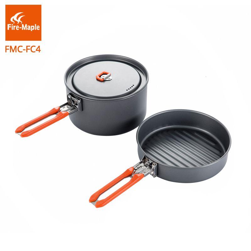 Batterie de cuisine de randonnée en érable au feu ensemble de cuisine en alliage d'aluminium dur FMC-FC4 1 poêle 1 Pot ensemble de casseroles de Camping portables