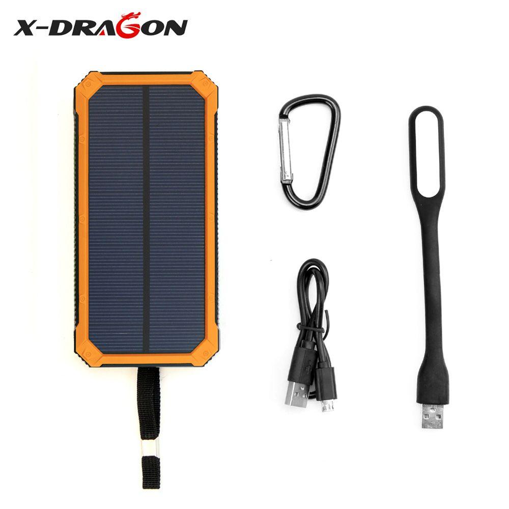 Портативный Солнечный Зарядное устройство солнечный Запасные Аккумуляторы для телефонов 15000 мАч со светодиодной лампы внешний Батарея для...