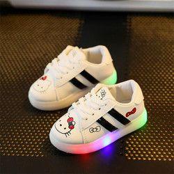 Enfants Lumière Chaussures Filles Lumineux Chaussure Enfant En Bas Âge de Bande Dessinée Kitty LED Chaussures Enfants Lumineux Sneakers Pour Garçons 21-30