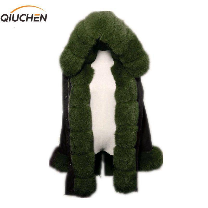 QIUCHEN PJ6004 real fur parka with real fox fur Hood and placket long model women black jacket with rex rabbit fur lining