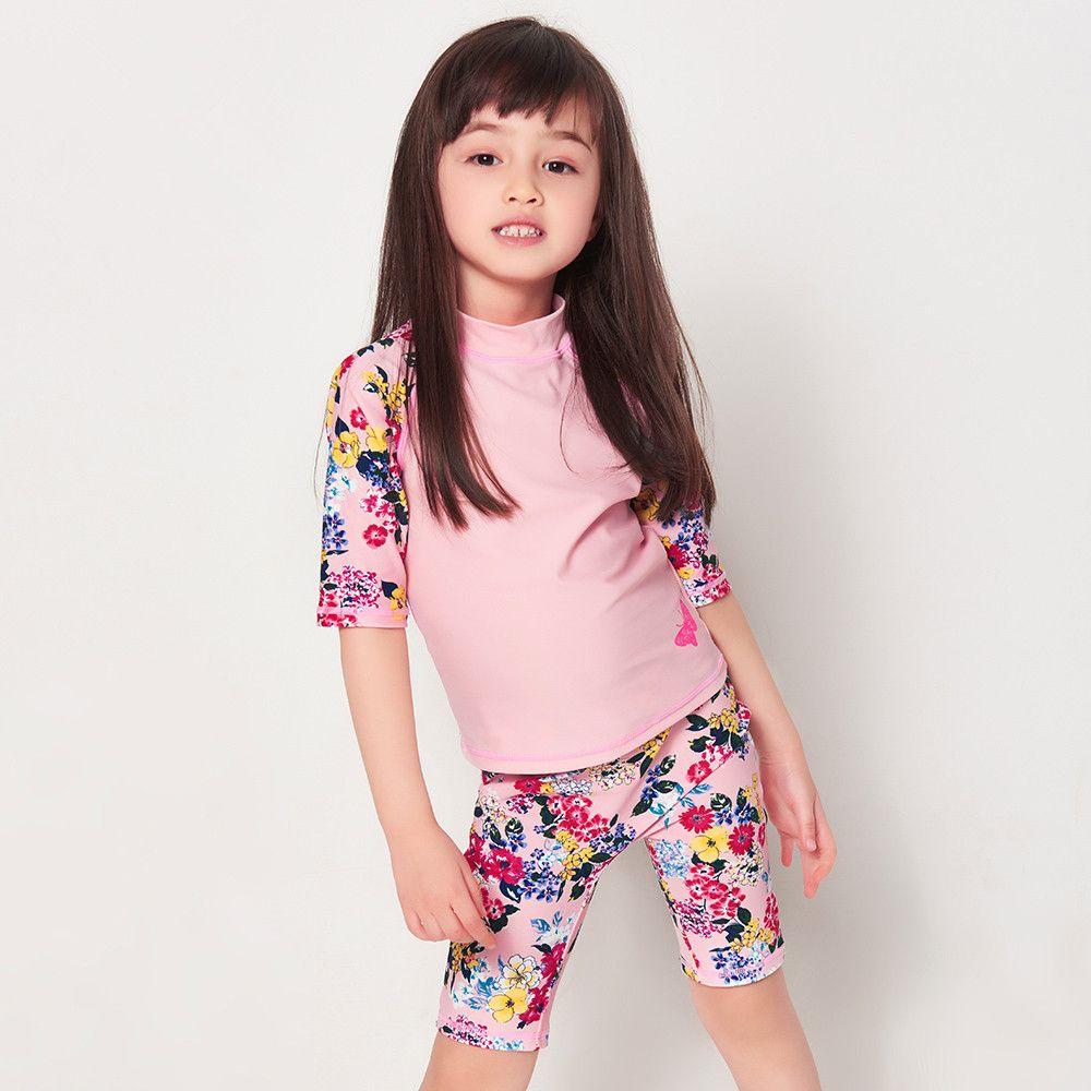 Kinder Bademode badeanzug Mädchen Kinder Badeanzug Schöne Rosa Blume Zweiteilige Kleid Mädchen Baby Badeanzug Badeanzüge Surfwear