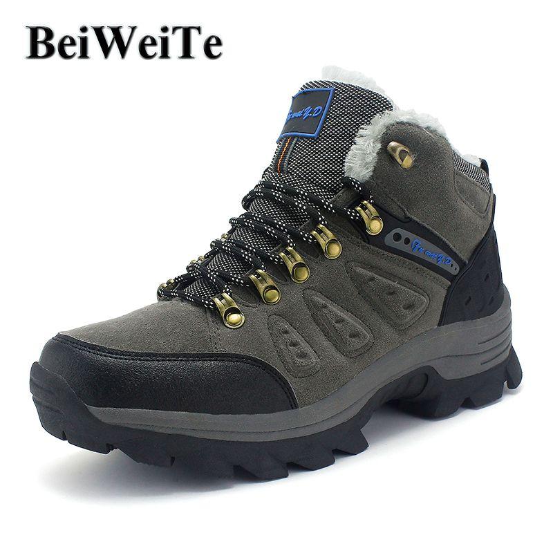 BeiWeiTe Mens Grande Taille de Sentiers D'hiver Randonnée Chaussures De Fourrure Doublé Chaud Anti-Patinage En Plein Air Chaussures Pour Hommes Portable Tourisme Trek Sneakers