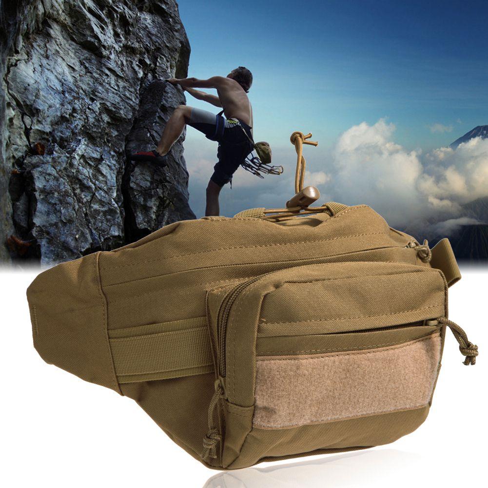 Unisex Outdoor Waterproof Waist Pack Canvas Shoulder Bag Military Tactical Pack Camping Hiking Pouch Waist Bag +Zipper Pocket