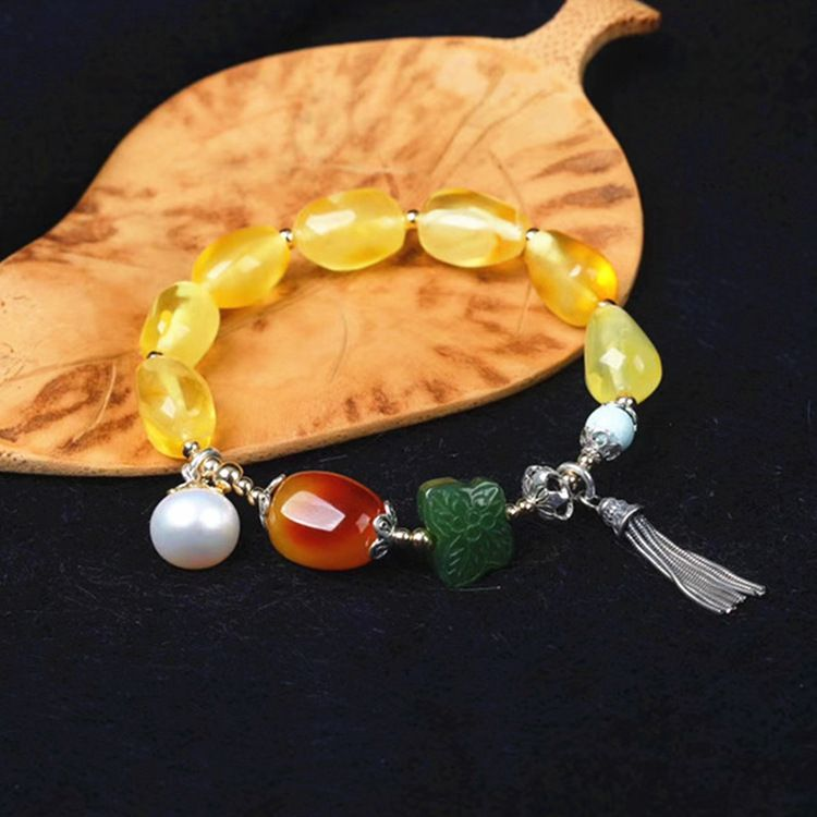 fashion jewelry silver ore natural beeswax gold color silver bracelet for woman female