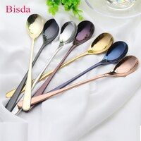 7pcs 8'' Stainless Steel Ice Spoon Long handle Rose Gold Coffee Spoon Set 7 Colors Long Ice Scoop Black Mixing Colour Spoon