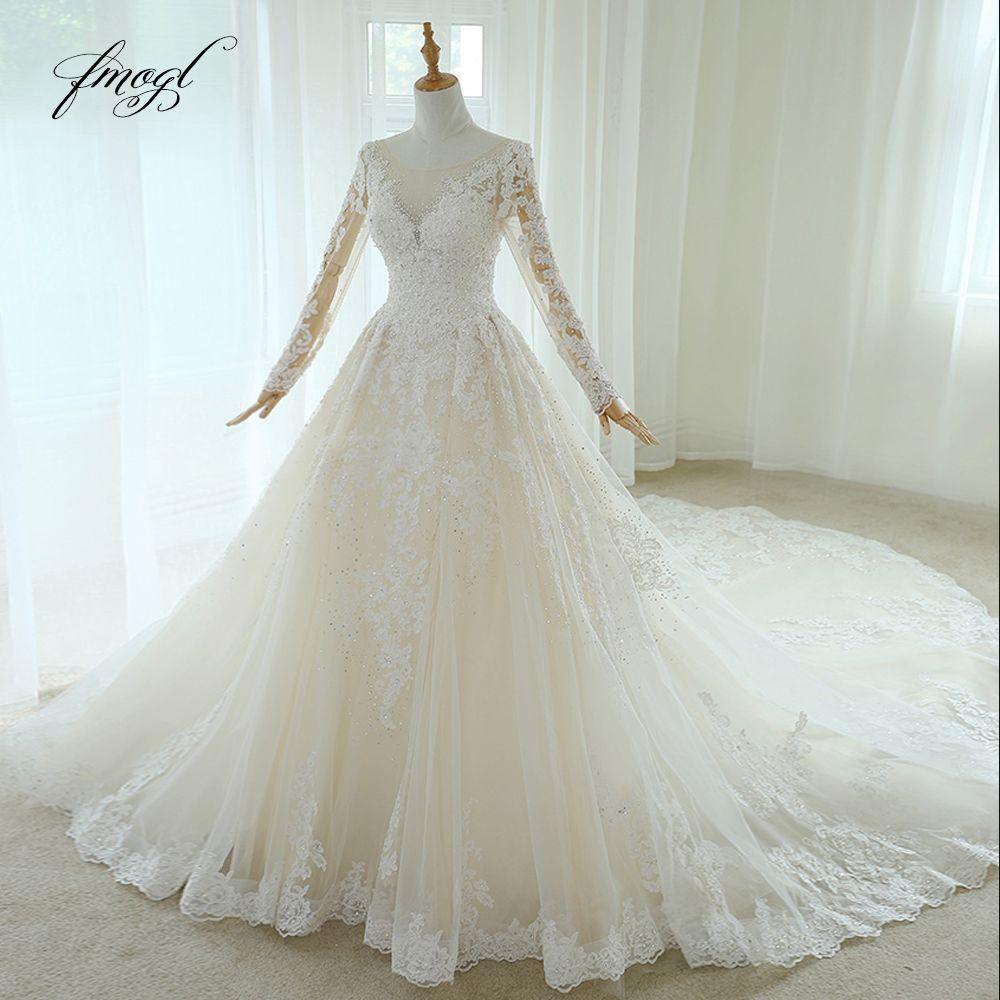 Fmogl Vestido De Noiva Lange Hülse Spitze Hochzeit Kleider 2019 Luxus Scoop Neck Appliques Perlen Vintage EINE Linie Brautkleid