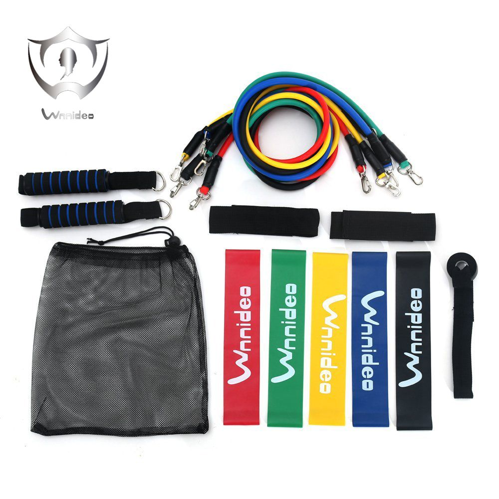 Wnnideo Rubber Home Fitness Exercise Bands Resistance Loop Bands and Ropes Sets Portable Gym for Camping Hiking Outdoor SH5-1903
