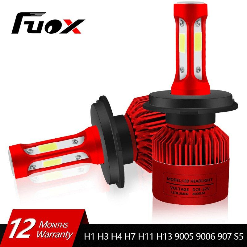 2 Pcs 12V 24V Car Headlight H4 LED H7 H1 H3 H11 H13 HB2 HB4 HB5 9004 9005 9006 9007 72W 8000LM Auto Headlamp 6500K Light Bulb