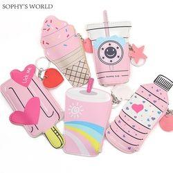 2 Unid historieta Monederos y bolsos lindo helado botella bolsa de cuero kawaii niños bolsa pequeña cartera de llaves Carteira